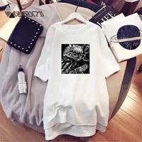 dress mini ladies loose cat fashion print t shirt dresses korean short sleeve casual streetwear pullover dress summer