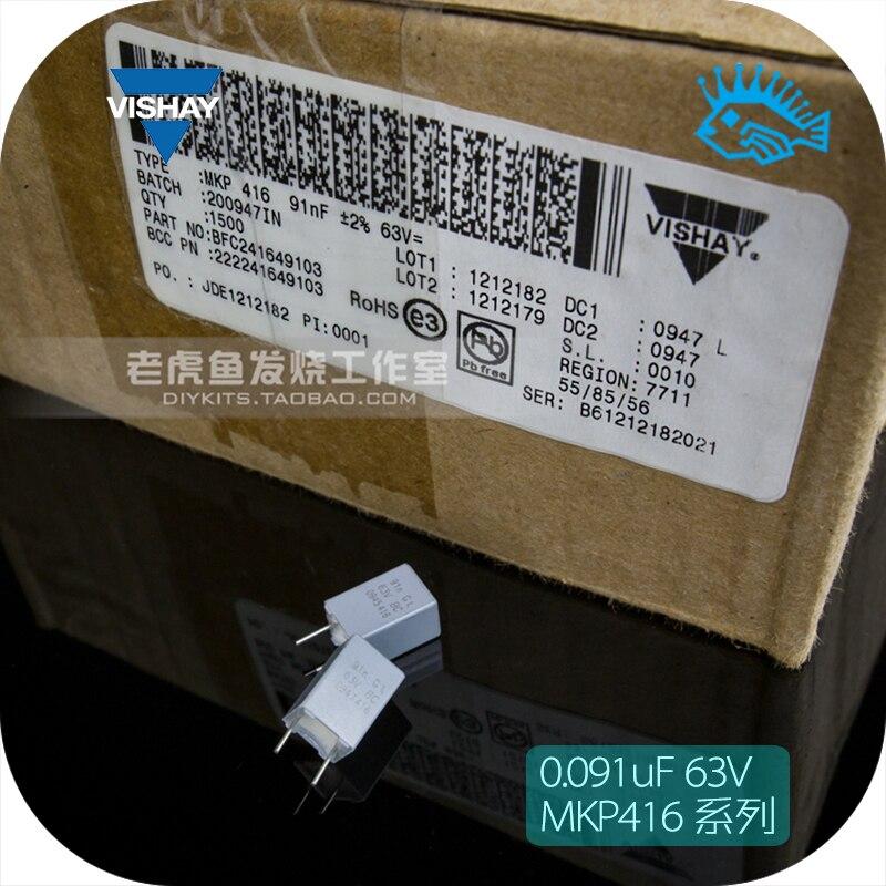 5 uds/50 Uds 0.091uF 91nF 63V MKP416 BC VISHAY Condensador de película no polar 91nF reemplazar 0,1 UF