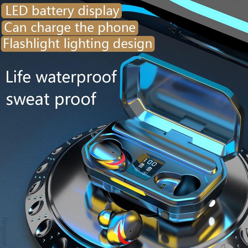 Wireless Headphones TWS Bluetooth Earphones 3500mAh Sports Waterproof Headsets HiFi 9D Bass Stereo E
