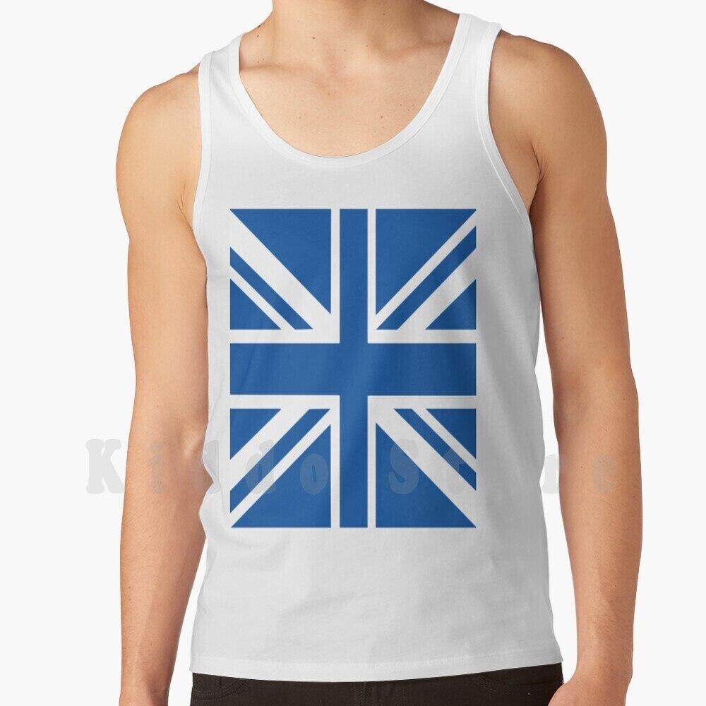 Blue & White Union Jack Flag Tank Tops Vest 100% Cotton Union Jack Uk Flag Everton Leicester City Glasgow Rangers
