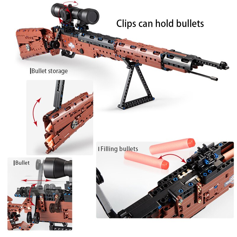 moc upgraded electric motor power toys compatible brands high tech mp5 submachine gun model building block diy brick boys gifts CaDA Military WW2 Weapon 5 Soft Bullets 98k Building Blocks Gun High-Tech Telescope SWAT Submachine Model Bricks Toys for Boys