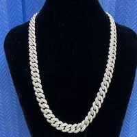 mosangnai 20 10mm white iced out moissanite diamond miami cuban link chain silver 18k white gold plated