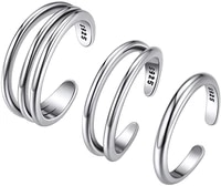 chainspro 925 sterling silver toe ring 3 piece set single rounddouble roundthree round line toe ring cp461