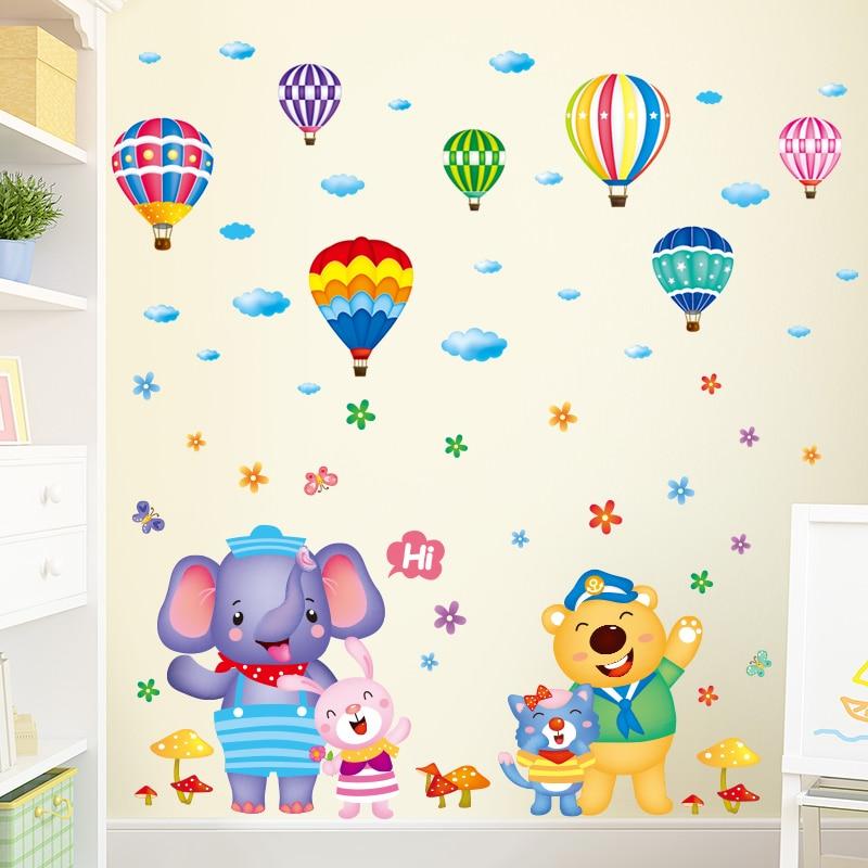 [Shijuehezi] animais dos desenhos animados adesivos de parede diy balões de ar quente decalques de parede para quartos dos miúdos quarto do bebê decoração de vidro