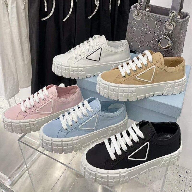Роскошные дизайнерские женские парусиновые туфли, белая брендовая спортивная обувь с круглым носком на толстой подошве, повседневная обув...