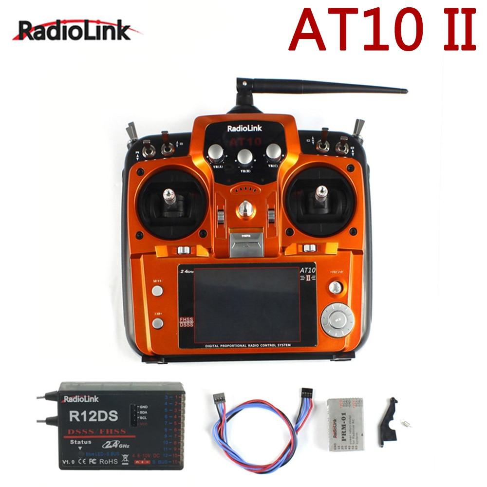 الأصلي RadioLink AT10 II 2.4 جيجا هرتز 12CH RC الارسال مع R12DS استقبال PRM-01 الجهد عودة وحدة البطارية ل أجهزة الاستقبال عن بعد