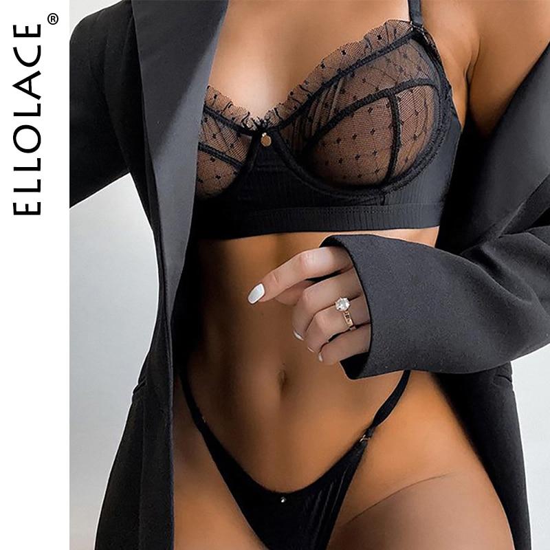 Ellolace Ruffle Lace Lingerie Set Sexy Women's Underwear Transparent Bra Party Sets Lace Black Lingerie Bra Set Underwear Set