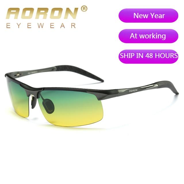 AORON Aluminum Day Night Vision Men Sunglasses Polarized Glasses Brand Original Goggles Male Design Luxury Driving
