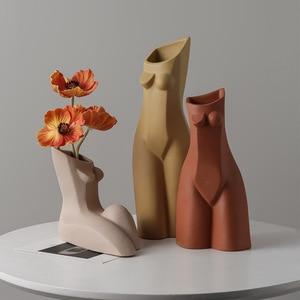 Скандинавская абстрактная креативная ваза с геометрическим рисунком человека, простая Цветочная композиция для гостиной, мягкие художественные украшения для дома и рабочего стола
