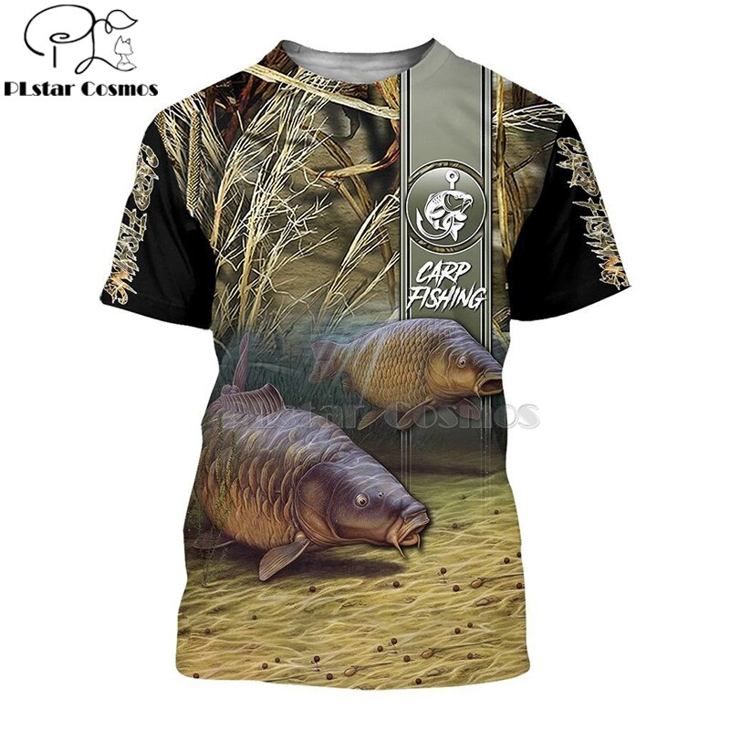 2020 New Fashion Men hoodies 3D Print t shirt New carp Fashion Animal Fishing Art t shirt tees shorts sleeve Apparel Unisex -4