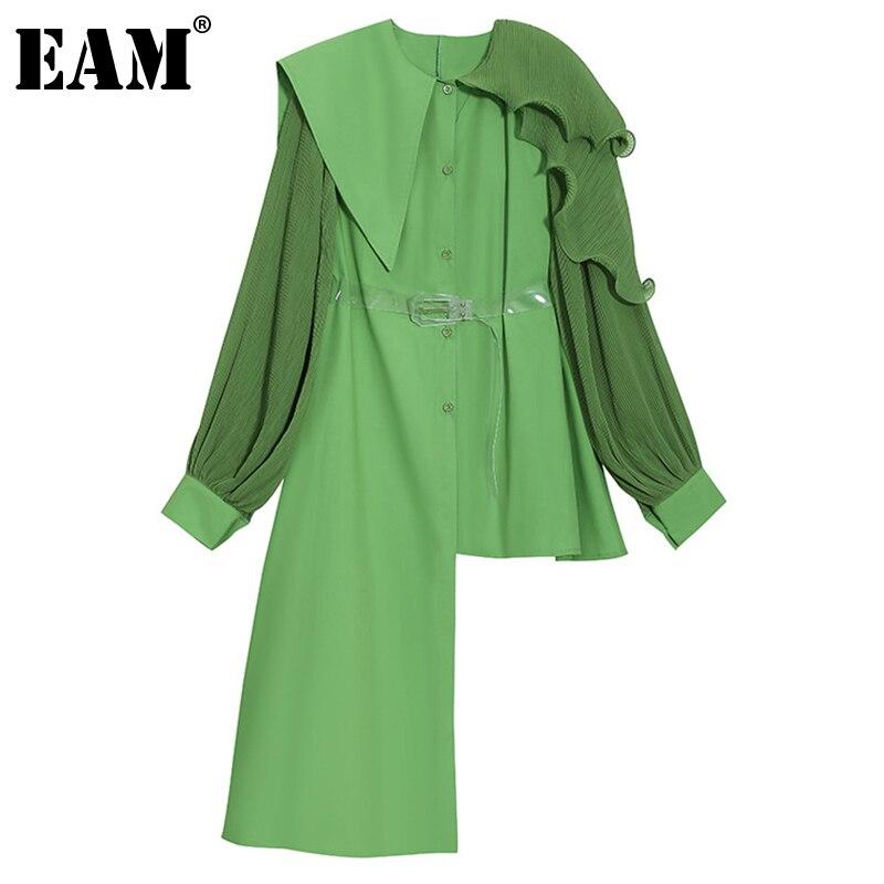 [EAM] بلوزة نسائية ذات حجم كبير وبكشكشة خضراء غير منتظمة بأكمام طويلة فضفاضة قميص مناسب لربيع وصيف 2021 1DE0422