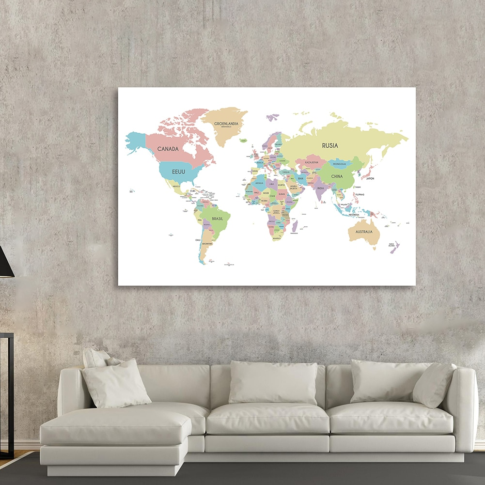 150*100cm The Spanish World Political Map Background Cloth Wall Poster Non-woven Canvas Painting Home Decoration School Supplies