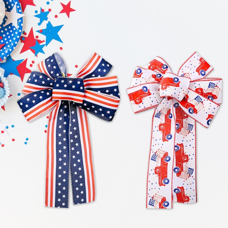 1 Pcs Independence Day Ribbon Bow National Festive Streamers Home Garden Door Wall Hanging Decorations Party Supplies