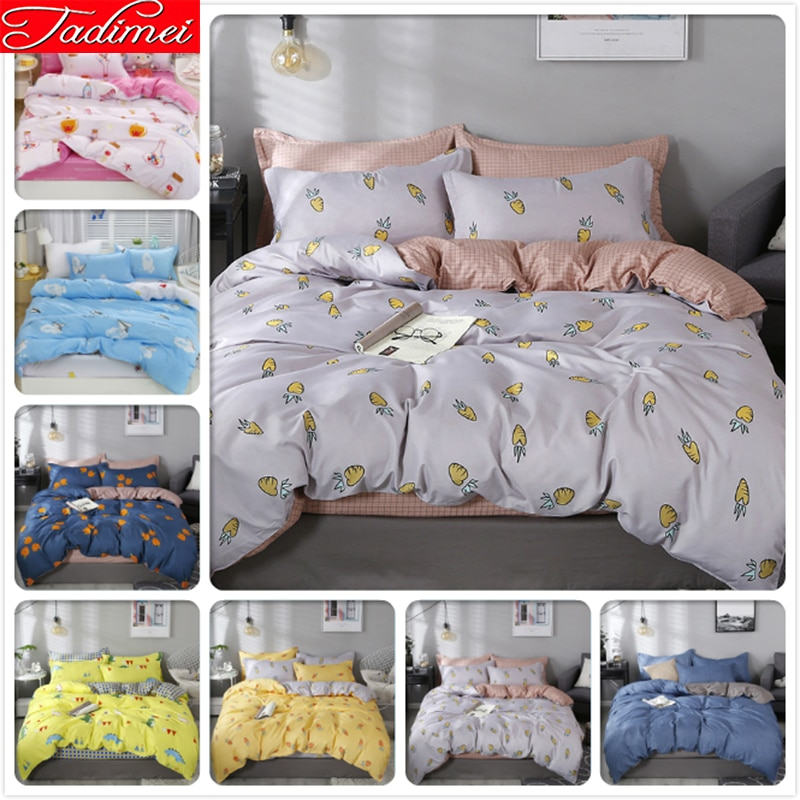 AB doble cara edredón funda sábana juego de cama adultos niños pareja suave algodón ropa de cama individual Queen King Size 180x220cm