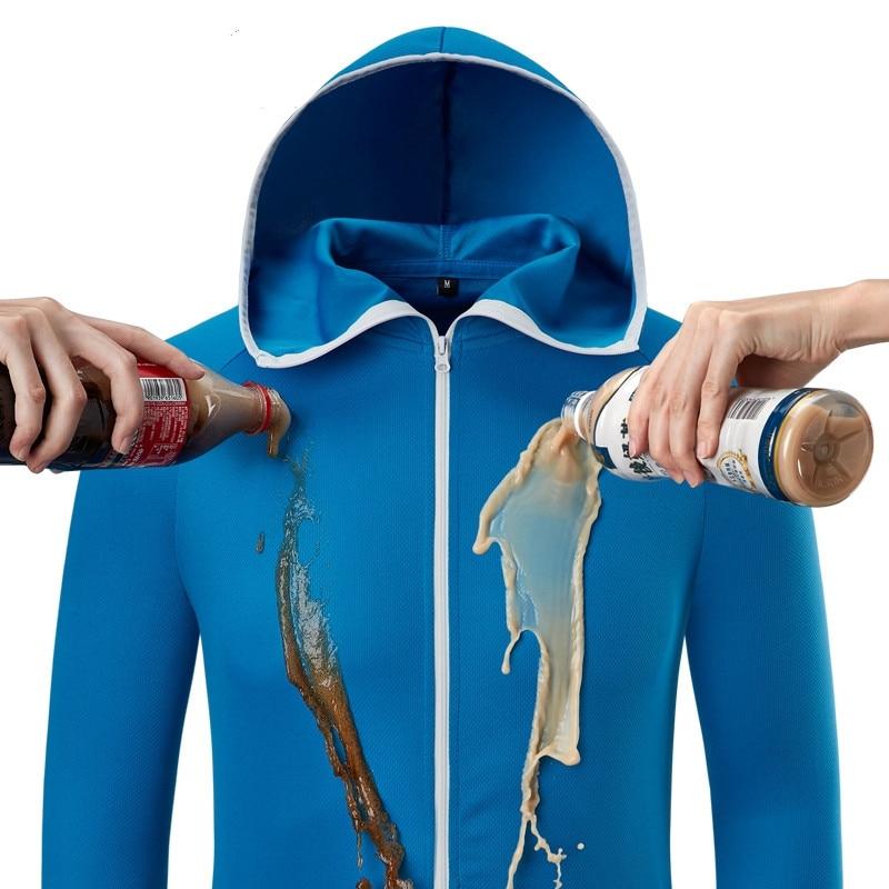 Ropa impermeable de pesca para hombre, ropa antiincrustante hidrofóbica Tech, chaquetas con capucha para senderismo al aire libre, abrigo Anti-UV de secado rápido