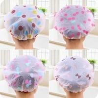 korean style cute cartoon waterproof bathing cap adult suit long hair plastic shower cap for adult female lx1307