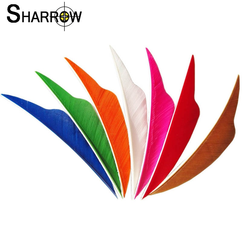 50pcs 4Inch Archery Arrow Feather Shield-Shape Turkey Feather Fletching Right Wing Vanes DIY Shaft Shooting Hunting Accessories