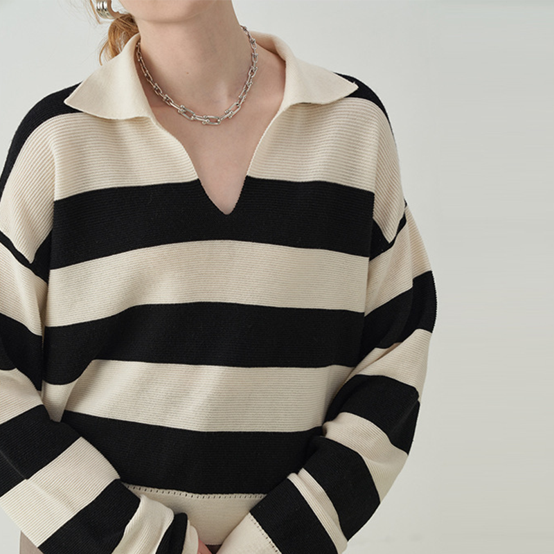 Womens Loose Fit Knitted Pullovers Sweater Long-Sleeve V Neck Office Lady Stripe Pattern Knitted Jumper Tops enlarge