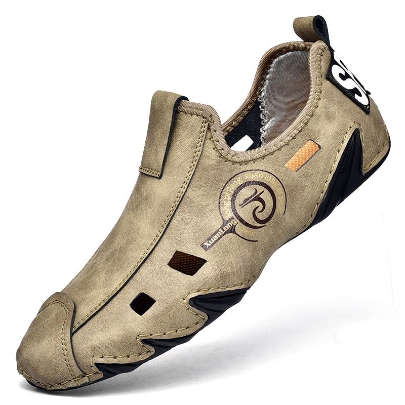 2021 جديد الصيف الرجال لينة جلد حذاء كاجوال موضة فاخرة لينة المتسكعون الأخفاف تنفس عدم الانزلاق أحذية قيادة كبيرة الحجم