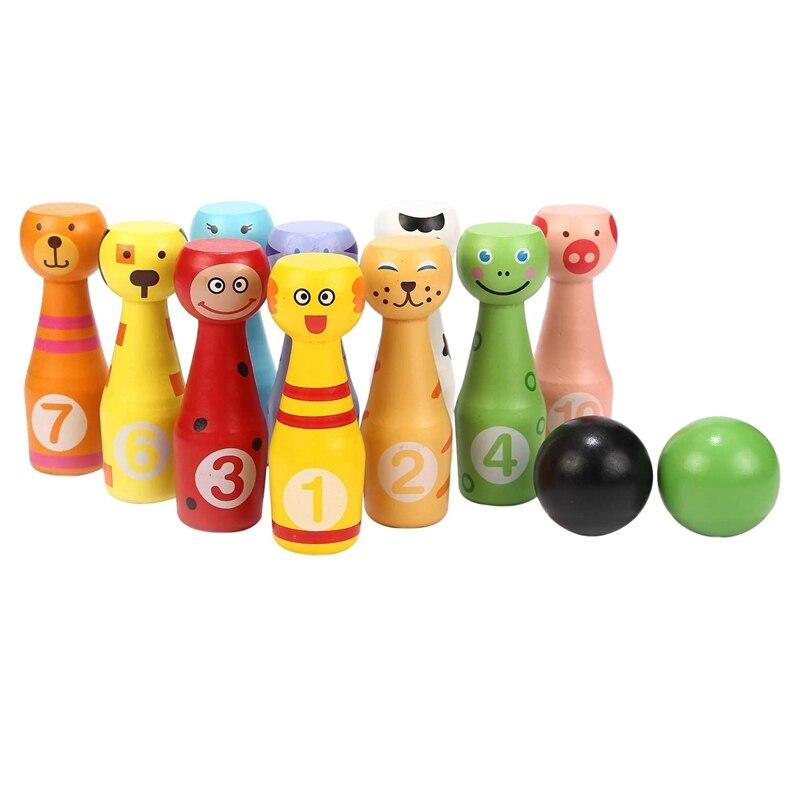 البولينج مجموعة Skittles لعبة اللعب مع 10 قوارير البولينغ الحيوان 2 كرات لعبة تعليمية هدية للأطفال 2 3 4 5 سنوات وما فوق
