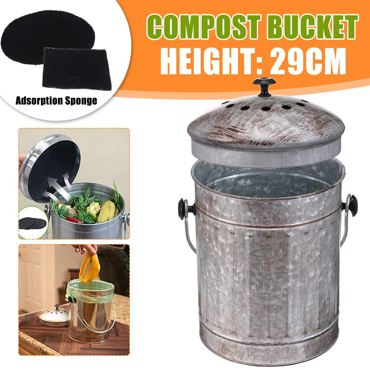 Cubo de Compost orgánico de desecho para jardín o cocina con 2 filtros de carbón
