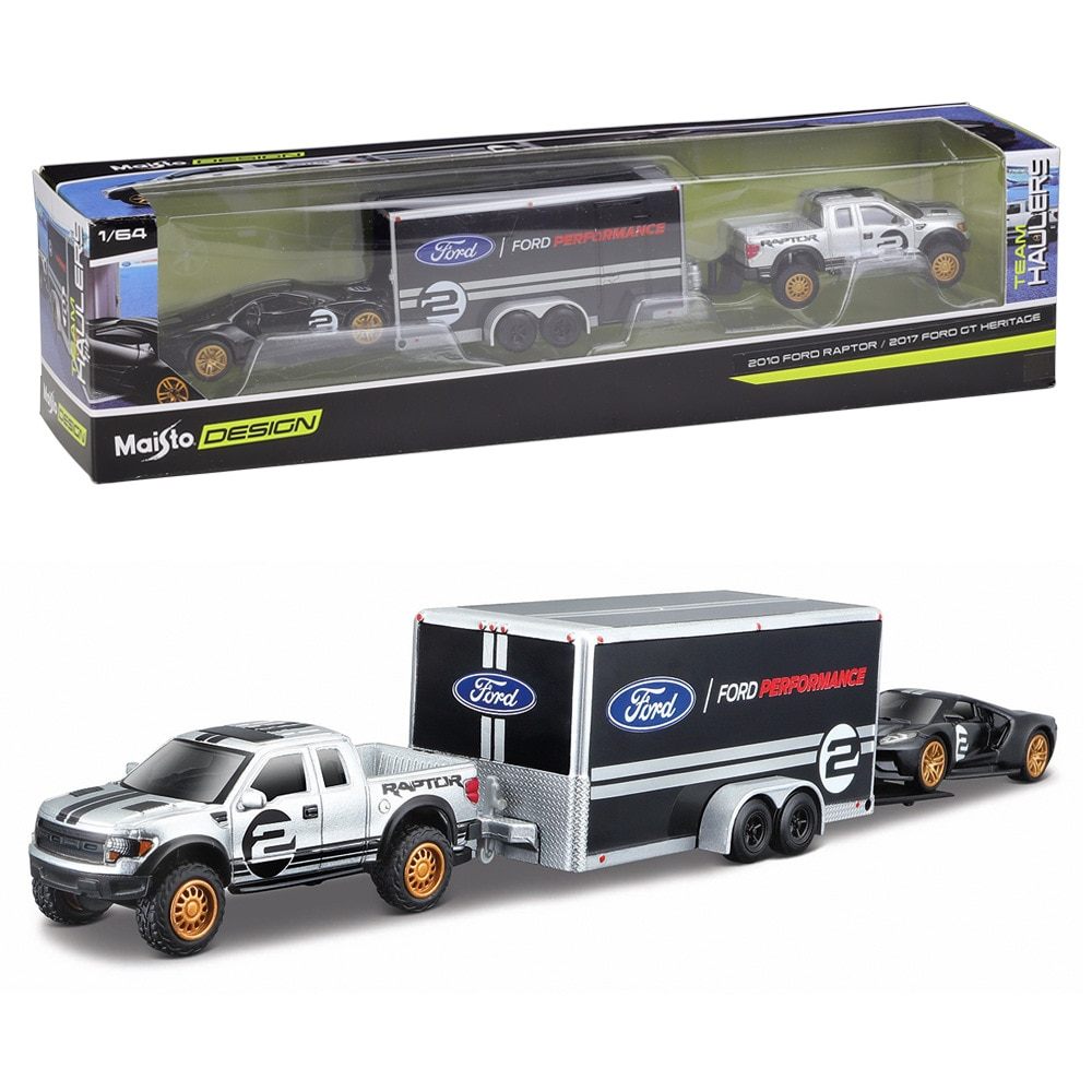 Maisto 1:64 2010 RAPTOR /2017 FORD GT HERITAGE Die casting manufacturing trailer model simulation alloy car collection