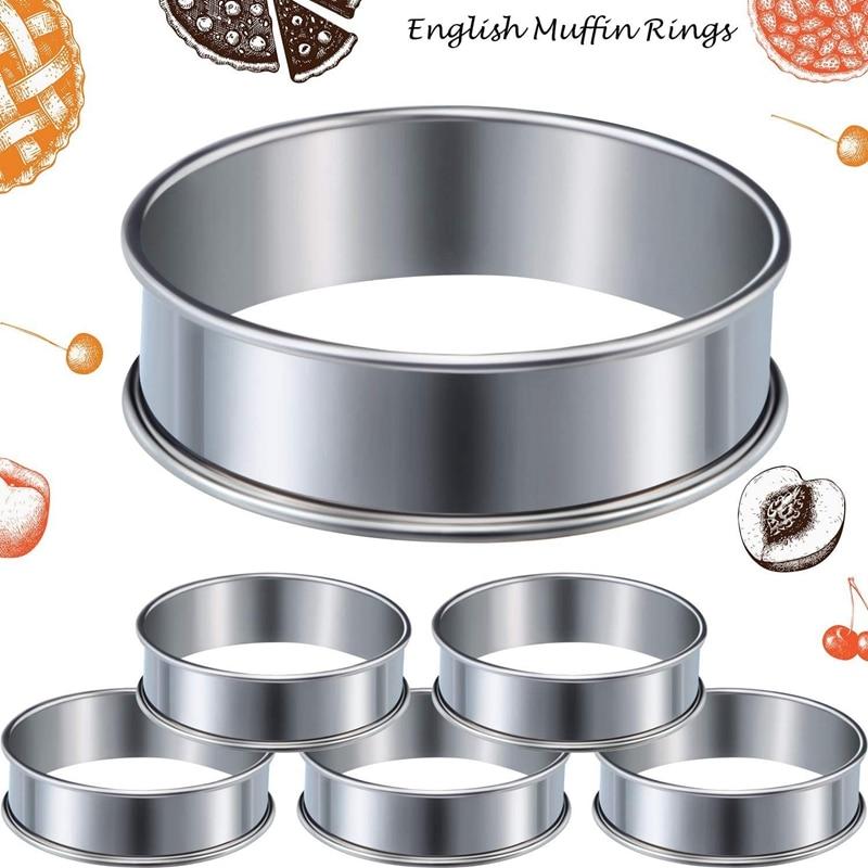8 Uds 3,15 pulgadas Muffin tarta anillos de acero inoxidable de doble laminado tarta anillo de Metal redondo molde para comida de casa herramienta de fabricación