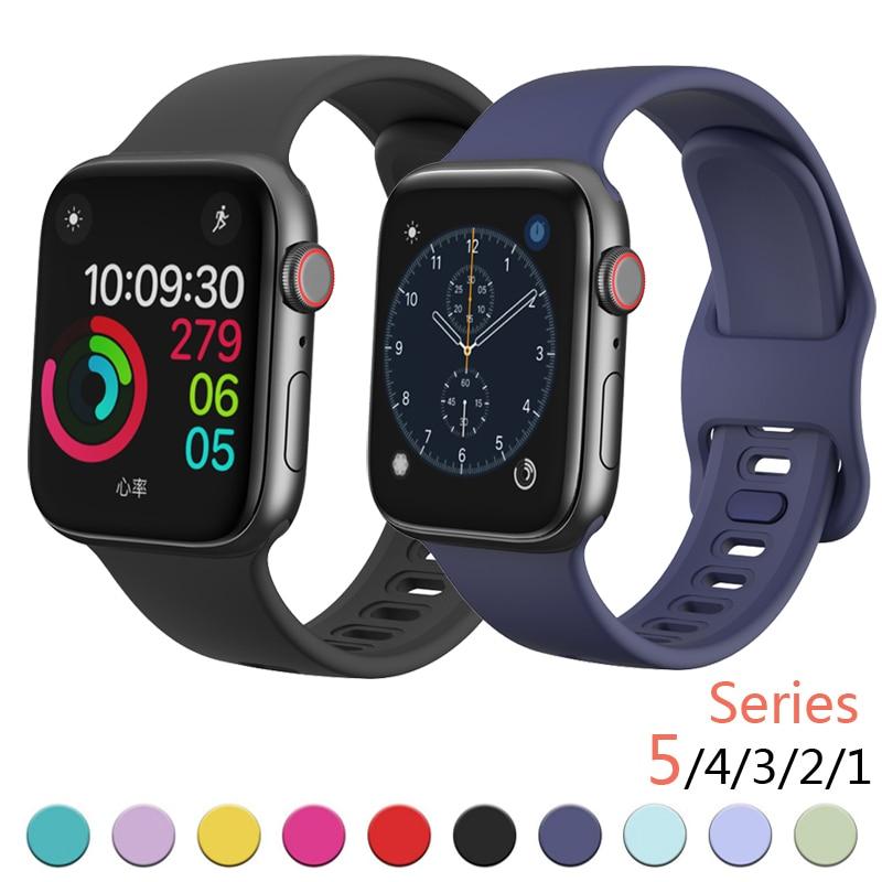 Силиконовый ремешок для Apple Watch 44 мм 40 мм iwatch 38 мм 42 мм высококачественный спортивный браслет резиновый ремешок для часов Apple Watch 4 5 аксессуар ремешок gurdini milanese loop для apple watch 42mm rose gold 904820
