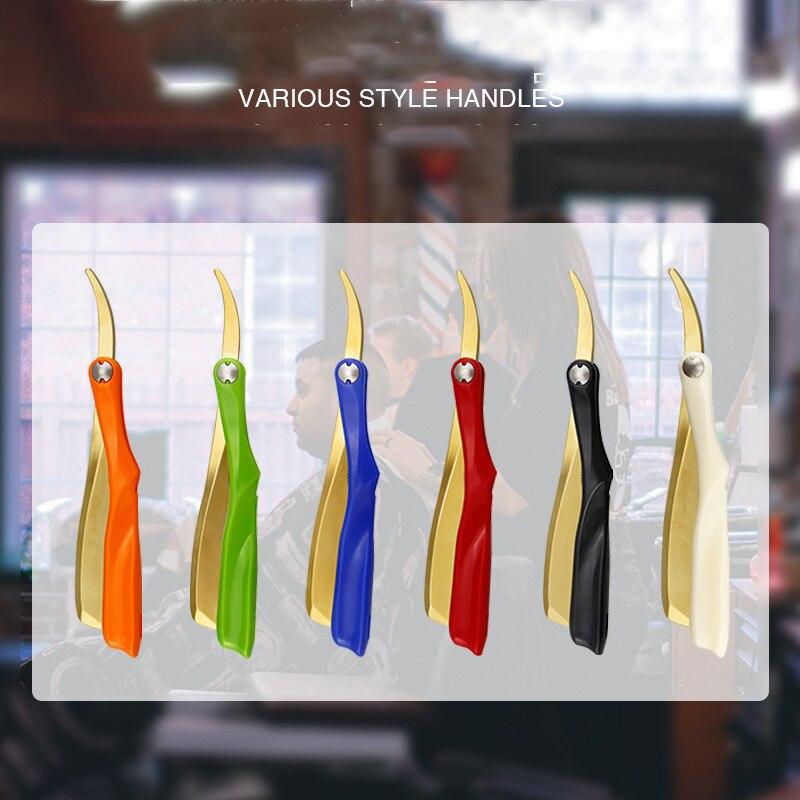 6 Color Men Shaving Barber Tools Hair Razor Zinc Alloy Folding Shaver Barbearia Knife Stainless Steel Straight razor Holder gift