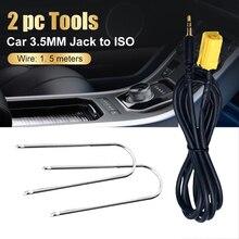 Carro 3.5mm jack para iso 6pin conector aux cabo para alfa romeo fiat grande punto aux-in cabo de áudio + 2 pc ferramentas