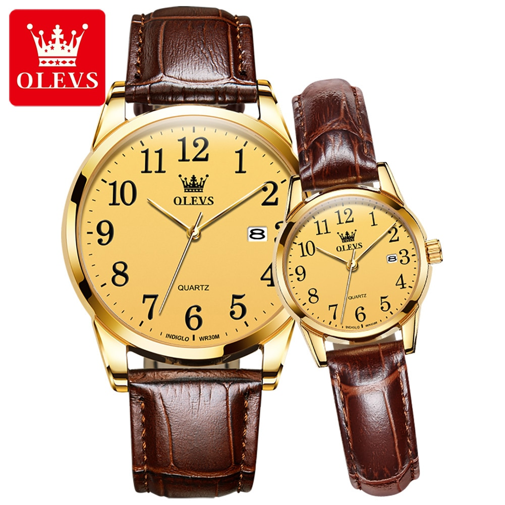 OLEVS Luxury Brand Lover Watches Paired Golden Leather Quartz Wrist Watch For Men And Women Couple W