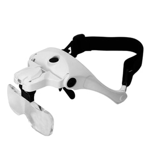 Head-Mounted Rechargeable Magnifying Glass with LED Light, with 5 Groups of Replaceable Lenses, Used for Watch Repair