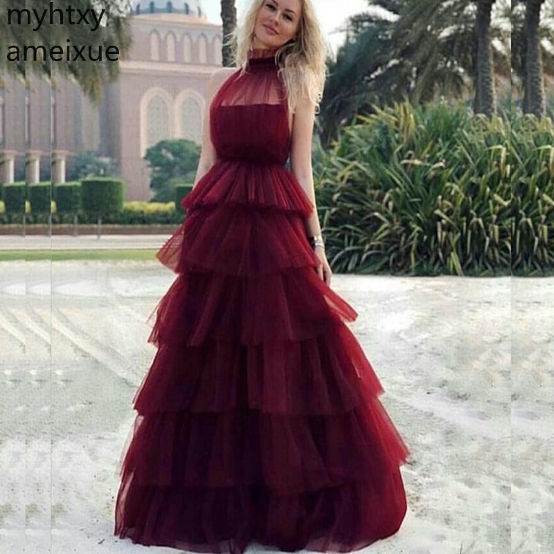Фото - Женское длинное вечернее платье, Красное длинное платье с высоким воротником, 2020 lemaire длинное платье