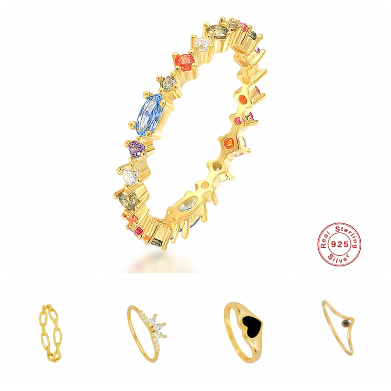 Aide 925 Sterling Silver Gold Colorful Cubic Zirconia Jeweled Rings For Women Chain Heart Crown Shape Ring Rock Punk Jewelry