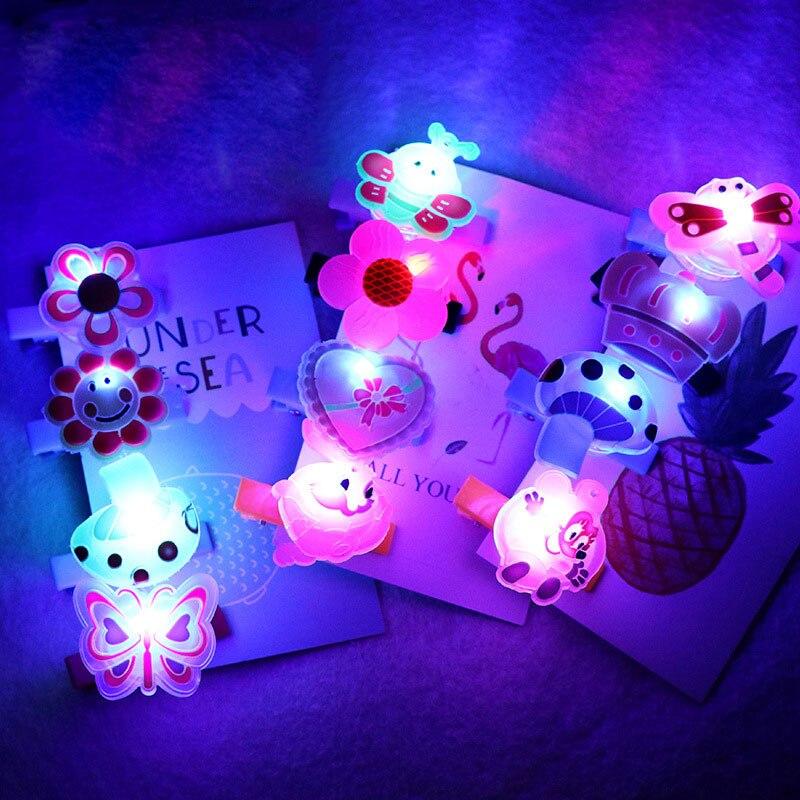 5pcs/set Glowing Cartoon Hairpin Children LED Flashing Toy Gift Glow In The Dark Kids Toys Estrellas Brillan En La Oscuridad недорого