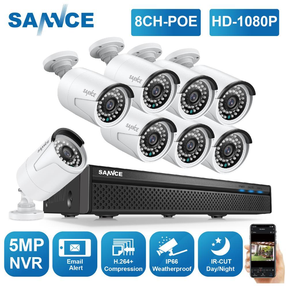 SANNCE-نظام مراقبة بالفيديو ، 8 قنوات ، 1080P FHD ، POE ، H.264 5 ميجابكسل ، NVR مع 4X ، 6X ، 8X ، 2 ميجابكسل ، كاميرا IP لتسجيل الصوت ، للاستخدام في الهواء الطلق ، ...