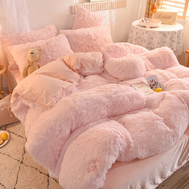 الفاخرة سميكة الصوف حاف الغطاء الملكة الملك الشتاء الدافئة السرير غطاء لحاف المخدة Fluffy أفخم أشعث المفارش طقم سرير