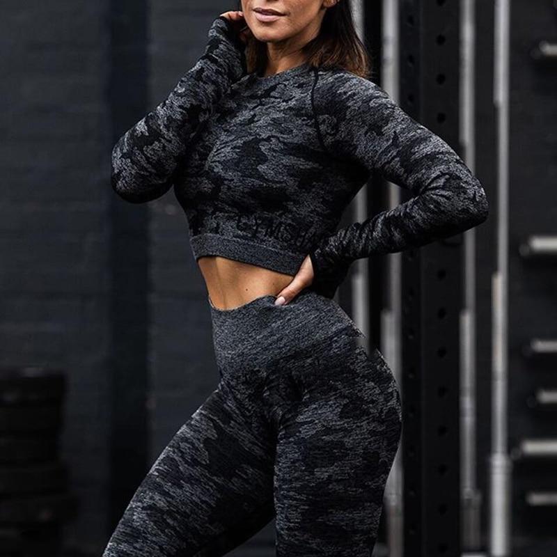 2PCS Camo Yoga Set Women Sport Suit Gym Workout Clothes Long Sleeve Fitness Crop Top + High Waist Seamless Camouflage Leggings