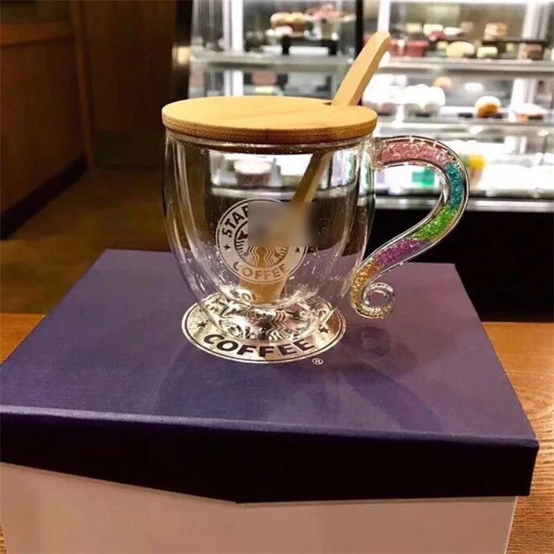 Regenbogen Griff Klassische Kaffee Tasse Meerjungfrau Muster Milch Glas Tassen Neuheit Geschenke Keramik Milch Tee Doppel schicht Tassen YC5272