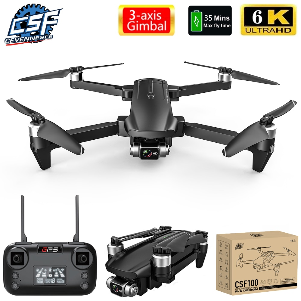 CSF100 Drone 6K HD ، كاميرا 3 محاور Gimbal ، وقت طيران 35 دقيقة ، تصوير جوي بدون فرش ، GPS ، WIFI ، FPV vs SG906 pro2 F11 ، جديد لعام 2021
