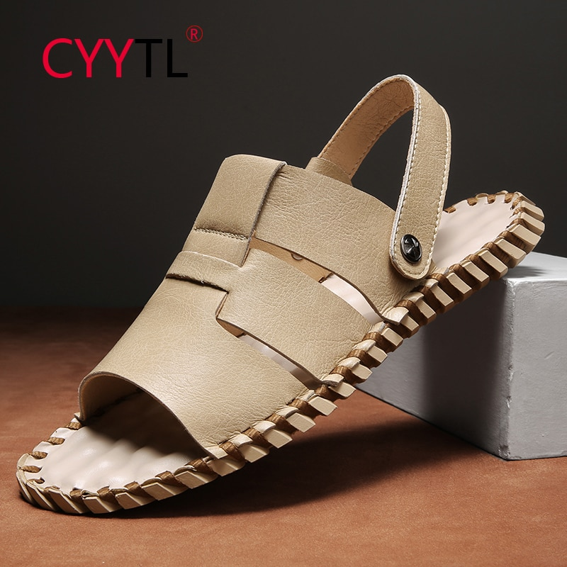 CYYTL Men Leather Hand Stitching Outdoor Open Toe Slippers Fisherman Summer Walking Sport Sandals 2 Wearing Beach Shoes for Male