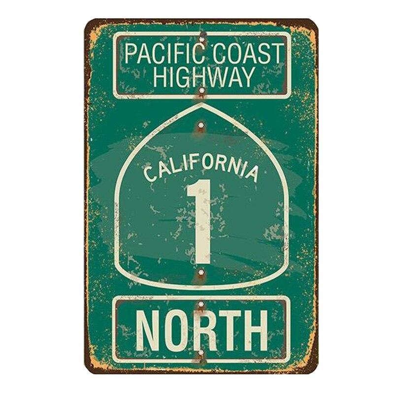 Тихоокеанское побережье шоссе Калифорния Северный плакат жестяной знак металлическая настенная вывеска для дома торговый центр настенное...