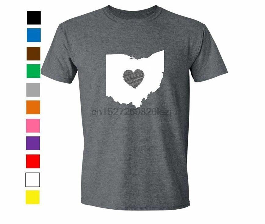 Camiseta engraçada do estado do humor do coração do amor da camisa de ohio