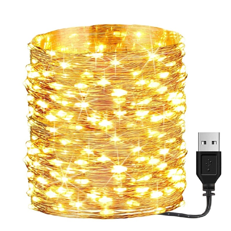 fairy lights usb 5m 10m silver led copper wire string light christmas holiday lights wedding patio decorations garden lighting 2M 3M 5M 10M Copper Silver Wire USB LED String lights Waterproof Holiday lighting For Fairy Christmas Wedding Party Decoration