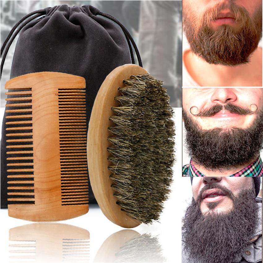Professional Soft Boar Bristle Wood Beard Brush Hairdresser Shaving Brush Comb Men Mustache Comb Kit With Gift Bag Hair Comb Set