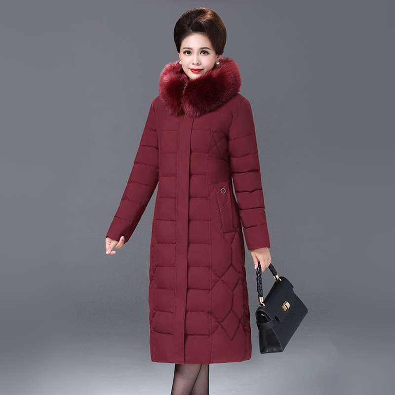 XL-7XL New Women Long Parkas Jacket Winter 2020 Mother Down-cotton Coat Big Fur Hooded Thicken Keep warm Loose Outerwear Female