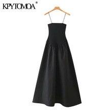 KPYTOMOA-robe Chic pour femme, à la mode, style patchwork, stretch, Slim, taille mi-longue, rétro, dos nu, coupe trapèze, à bretelles fines, collection 2020
