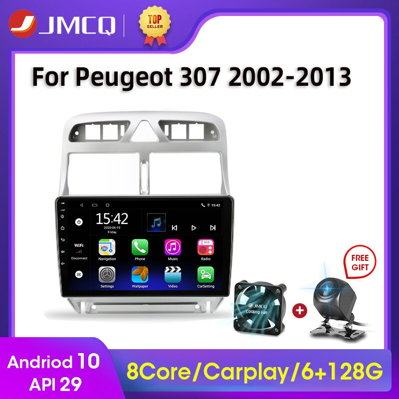 Фото - JMCQ 9 Android 10 2G+32G 2DIN 4G NET+WiFi DSP Car Radio Multimedia Video Player For Peugeot 307 2002-2013 Navigation GPS 2 din vtopek 9 4g wifi dsp 2din android 10 0 car radio multimedia player navigation gps for honda crv cr v 2006 2012 head unit 2 din