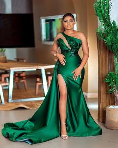 Green South African Prom Dresses Mermaid One-shoulder Appliques Slit Sexy Long Robe De Soiree Prom Gown Evening Dresses