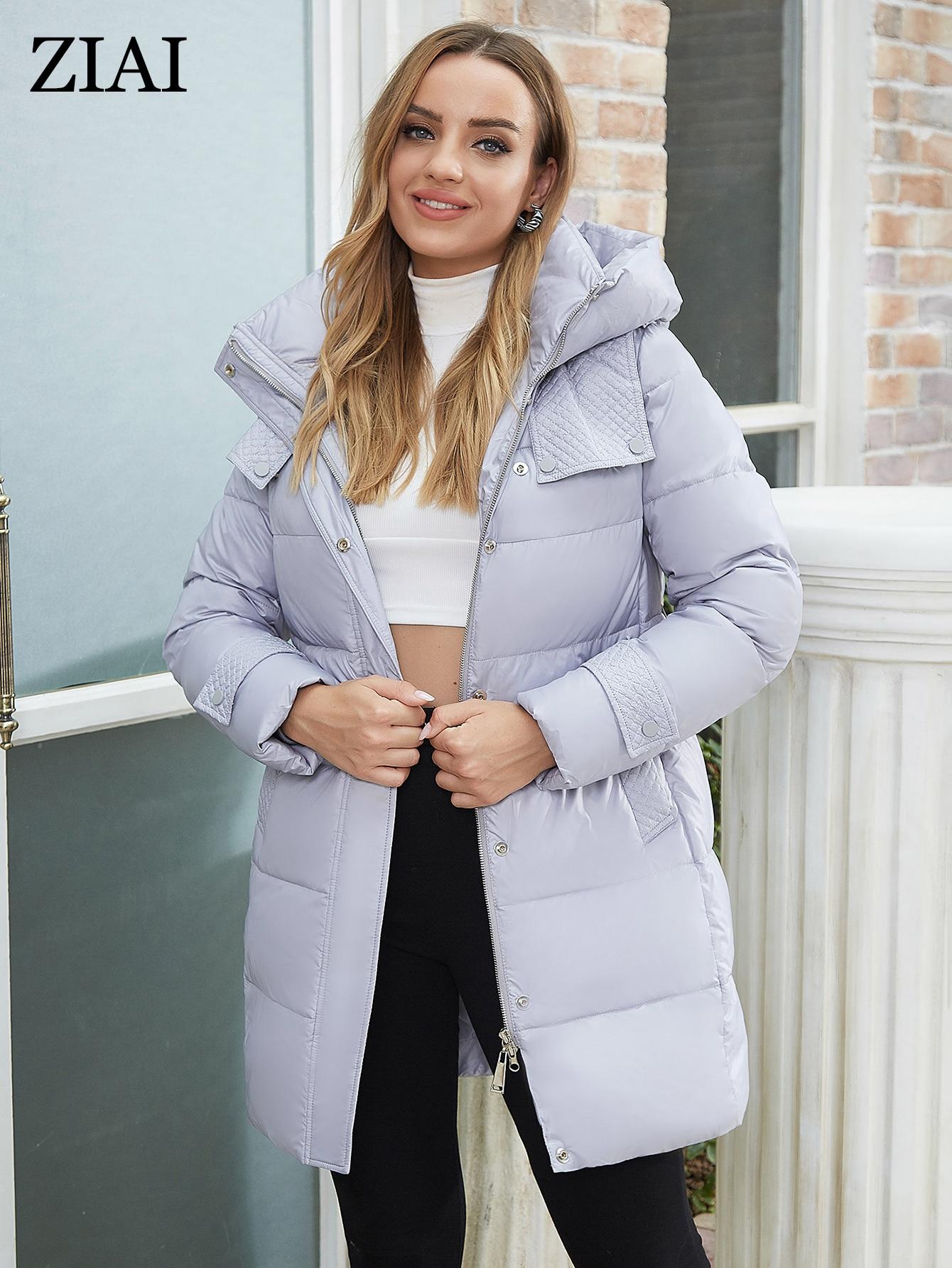 ZIAI 2021 New Winter Women's Jacket Simple Fashion slim Thick Women Coat mid-Long Parkas High-Qualit